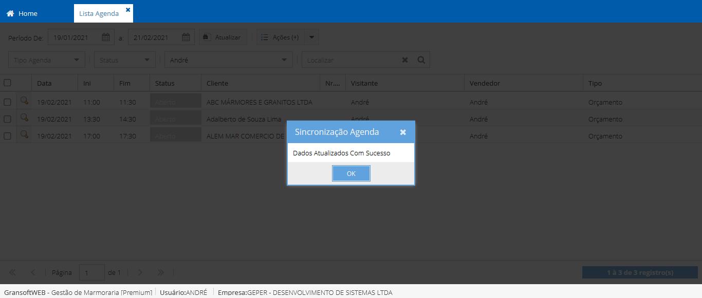 Integração das Agendas Gransoft com o Google Calendar
